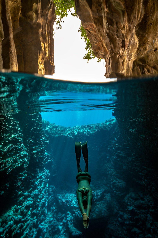cave freediver tonga