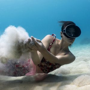 Underwater fashion shoot with Oceans Below and By Moumi